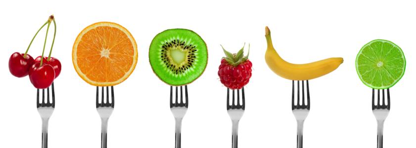 fruit op een vork